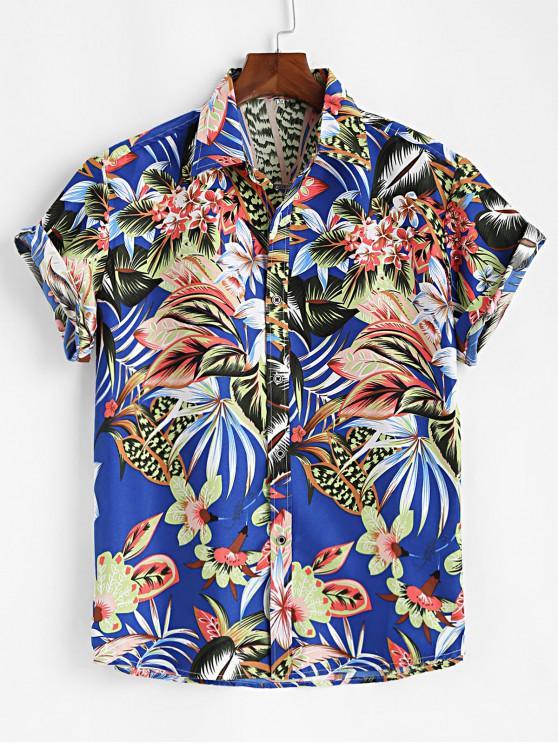 womens Tropical Flower Button Up Short Sleeve Shirt - COBALT BLUE 3XL