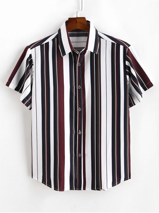 womens Colorblocking Striped Button Down Shirt - WHITE 3XL