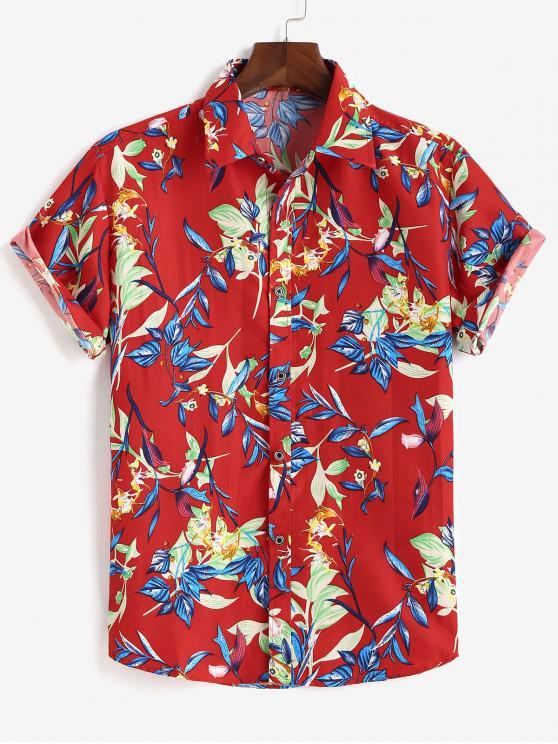 Camisa de Manga Corta de Estampado de Flores con Botones - Rojo L