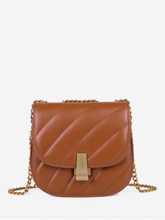 Chain Quilted Crossbody Saddle Bag - قهوة