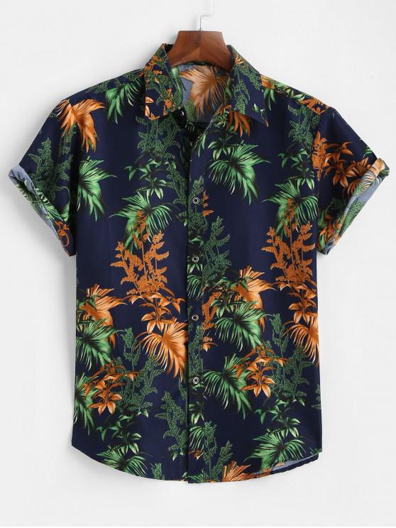 fashion Tropical Leaves Short Sleeve Button Up Shirt - DEEP BLUE 3XL