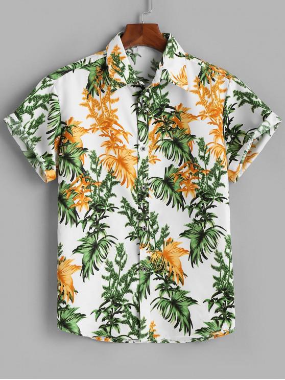 Tropische Blätter Kurzarm Hemd mit Knöpfen - Weiß 2XL
