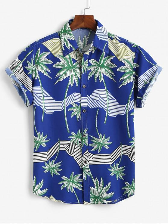 Hawaiian Short Sleeves Palm Tree Stripes Print Shirt - أزرق 3XL