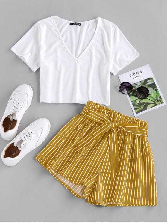 Top e Pantaloni di ZAFUL a Righe con Cintura - profondo Giallo XL