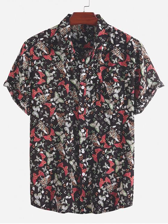womens Ditsy Butterfly Print Pocket Vacation Shirt - BLACK 2XL