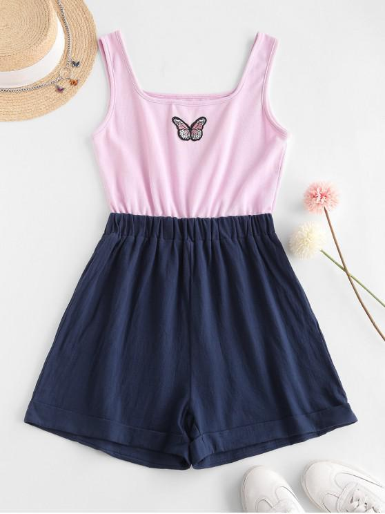 trendy ZAFUL Two Tone Cuffed Hem Butterfly Embroidered Romper - LIGHT PURPLE S