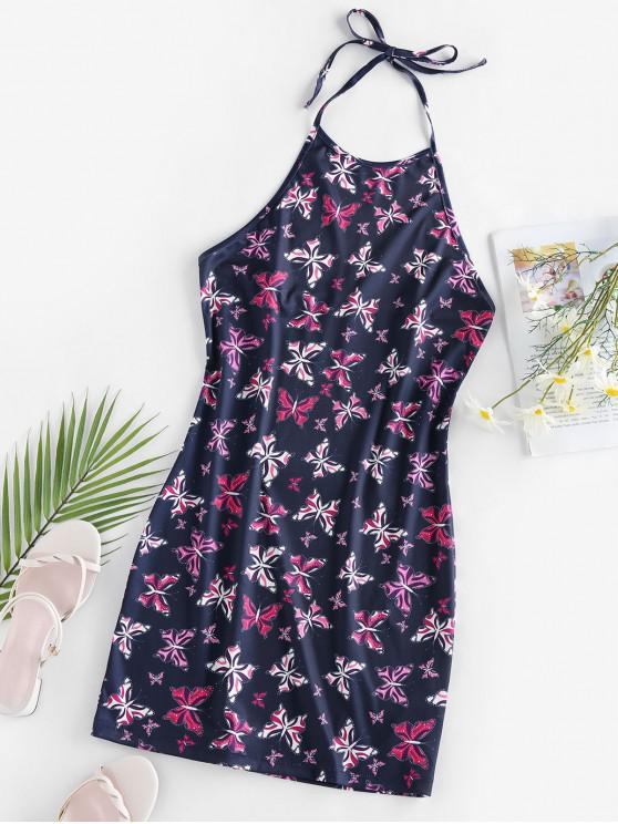 chic ZAFUL Halter Butterfly Print Mini Bodycon Dress - CADETBLUE M