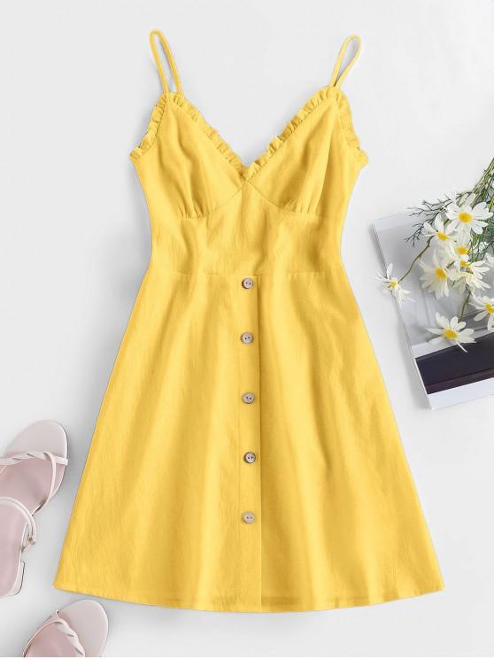 ZAFUL Frilled Buttoned Smocked Sundress - الأصفر L