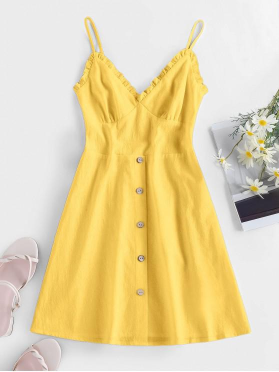 womens ZAFUL Frilled Buttoned Smocked Sundress - YELLOW S