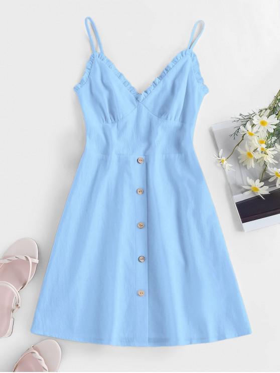 ZAFUL Frilled Buttoned Smocked Sundress - أزرق فاتح S