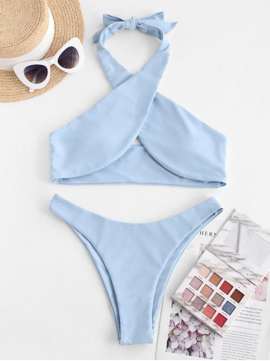 unique ZAFUL Halter Criss Cross High Cut Bikini Swimwear - LIGHT BLUE L