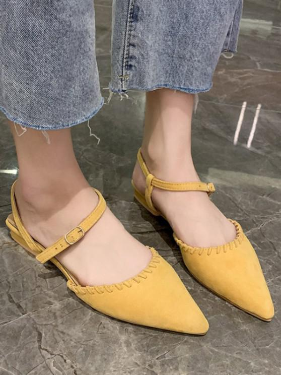 latest Pointed Toe Suede Flat Sandals - SUN YELLOW EU 38