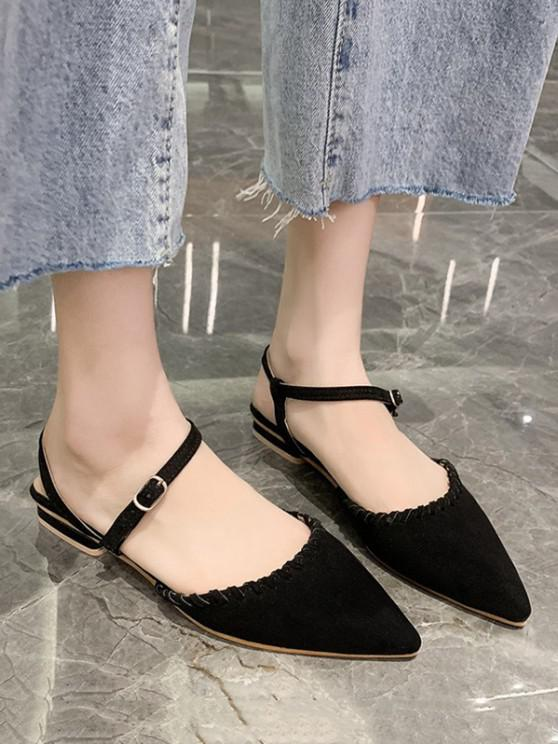 lady Pointed Toe Suede Flat Sandals - BLACK EU 37