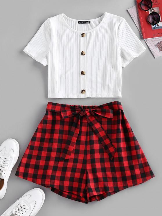 ZAFUL Ribbed Tee and Plaid Shorts Set - أحمر XL