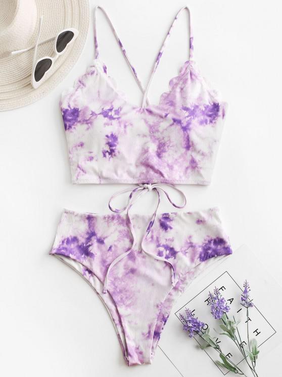 ZAFUL Ribbed Tie Dye Lace Up Scalloped Tankini Swimwear - أرجواني L