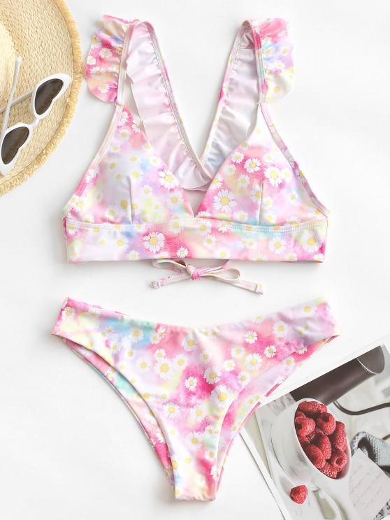 ZAFUL Daisy Print Tie Dye Ruffle Lace Up Bikini Swimwear - متعدد S