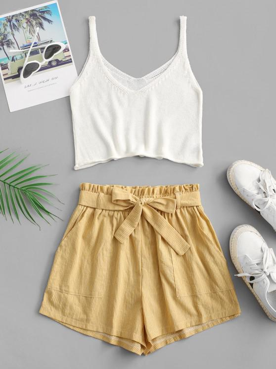 best ZAFUL Knitted Stripes Belted Paperbag Shorts Set - YELLOW S