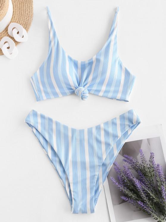 ZAFUL Gerippte Gestreifte Geknotete Bikini Badebekleidung mit Hohem Schnitt - Hellblau S
