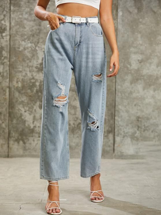 shops High Waisted Destroyed Wide Leg Jeans - LIGHT BLUE M
