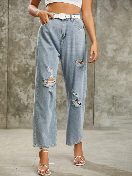 Calça jeans lavada com cós alto - Azul claro S