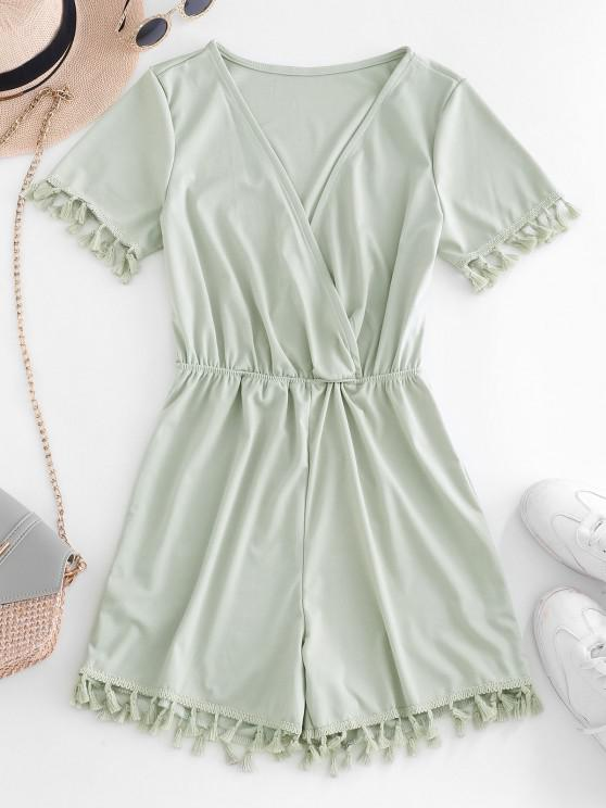 hot Surplice Tassel Plunge Romper - LIGHT GREEN S