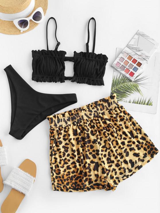 women ZAFUL Leopard Ruffle Ribbed Three Piece Bikini Swimwear - BLACK M
