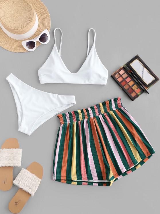 ZAFUL Colorful Striped Ribbed Cami Three Piece Bikini Swimwear - أبيض L