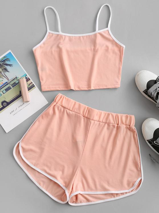 sale ZAFUL Ringer Sporty Cami Top And Dolphin Shorts Set - LIGHT PINK S