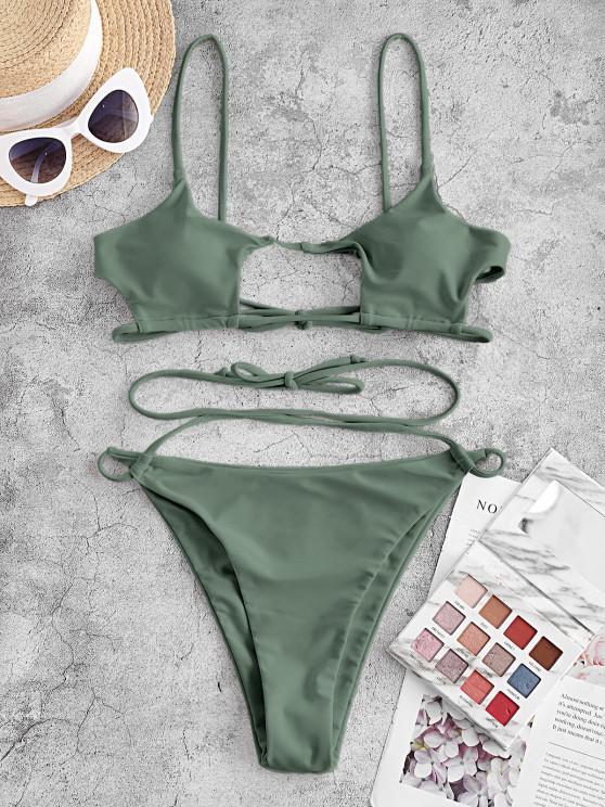 ZAFUL Crisscross Tie Cut Out Bikini Swimwear - اخضر فاتح M