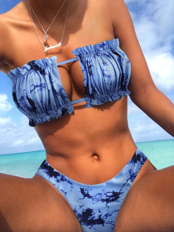 affordable ZAFUL Tie Dye Frilled Cutout Reversible Bikini Swimsuit - MULTI-B S