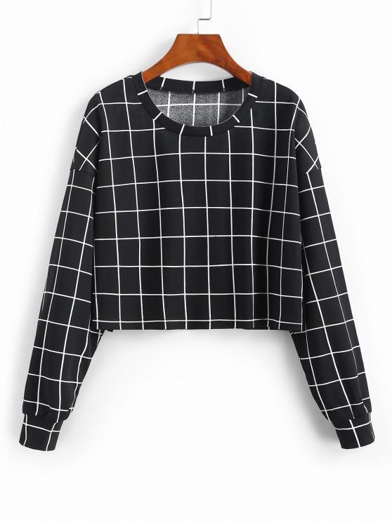 ZAFUL Grid Print Sweatshirt - أسود M