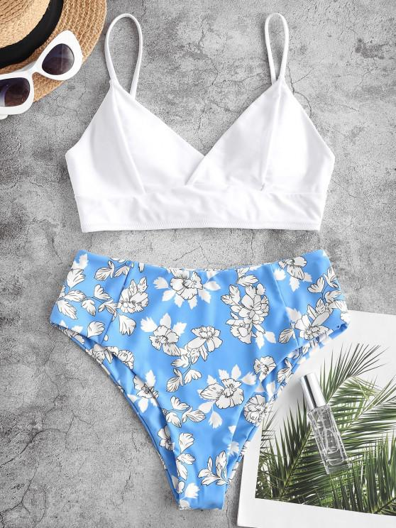 ZAFUL Tankini con Cordones y Estampado de Hojas Florales - Blanco S
