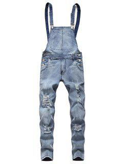 Solid Color Ripped Zipper Denim Overalls - Light Blue M