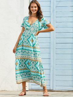 Bohemian Floral Print Plunge Neck Maxi Dress - Green M