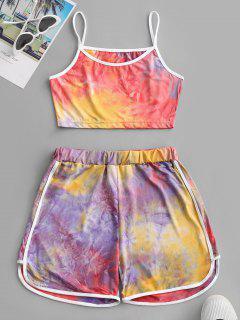 Contrast Trims Tie Dye Two Piece Set - Purple M