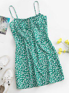 Rose Tie Collar Cami Mini Dress - Green S