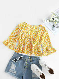 ZAFUL Cinched Ditsy Print Bell Sleeve Blouse - Rubber Ducky Yellow M