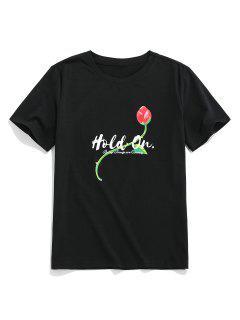 ZAFUL Handgeschnitzte Blumen Druck Basic T-Shirt - Schwarz Xl