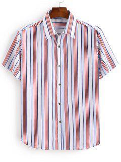Camicia A Righ Con Bottoni - Rosso 3xl