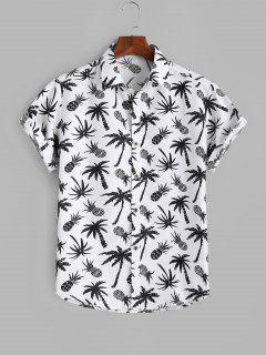 Palm Tree Pineapple Print Vacation Shirt - White M