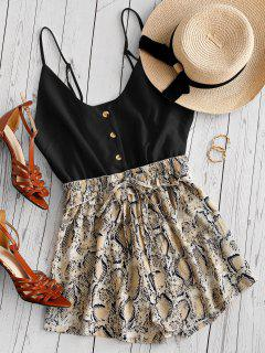 Snake Print Button Placket Cami Romper - Black S