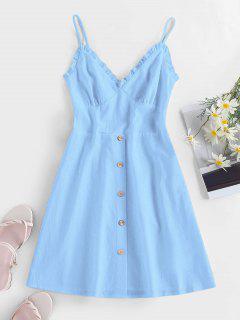 ZAFUL Frilled Buttoned Smocked Sundress - Light Blue M
