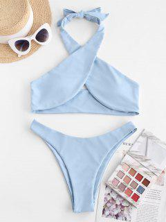 ZAFUL Halter Criss Cross High Cut Bikini Swimwear - Light Blue L
