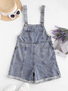 Denim Cuffed Hem Pockets Overalls Romper - Light Blue M