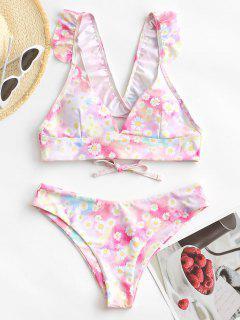 ZAFUL Daisy Print Tie Dye Ruffle Lace Up Bikini Swimwear - Multi S