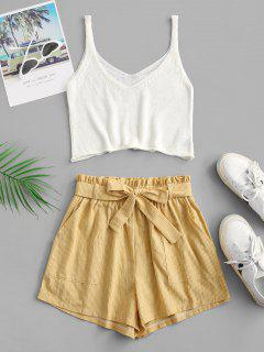 ZAFUL Knitted Stripes Belted Paperbag Shorts Set - Yellow S