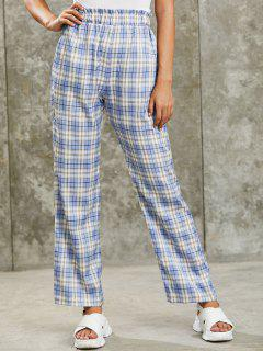 ZAFUL Grunge High Rise Plaid Paperbag Palazzo Pants - Cornflower Blue L