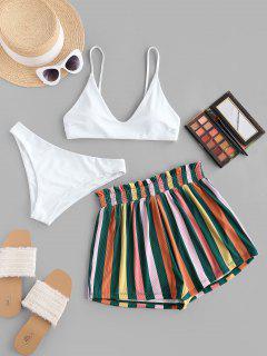 ZAFUL Bunte Gestreifte Gerippte Cami Dreiteilige Stück Bikini Badebekleidung - Weiß M
