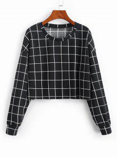 ZAFUL Grid Print Sweatshirt - Black M