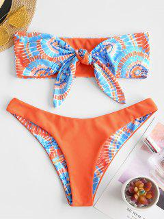 ZAFUL Printed Tie Front Bandeau Bikini Swimwear - Orange S